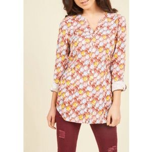 ModCloth Trusty Travel Button Up Top Cat Lady Med
